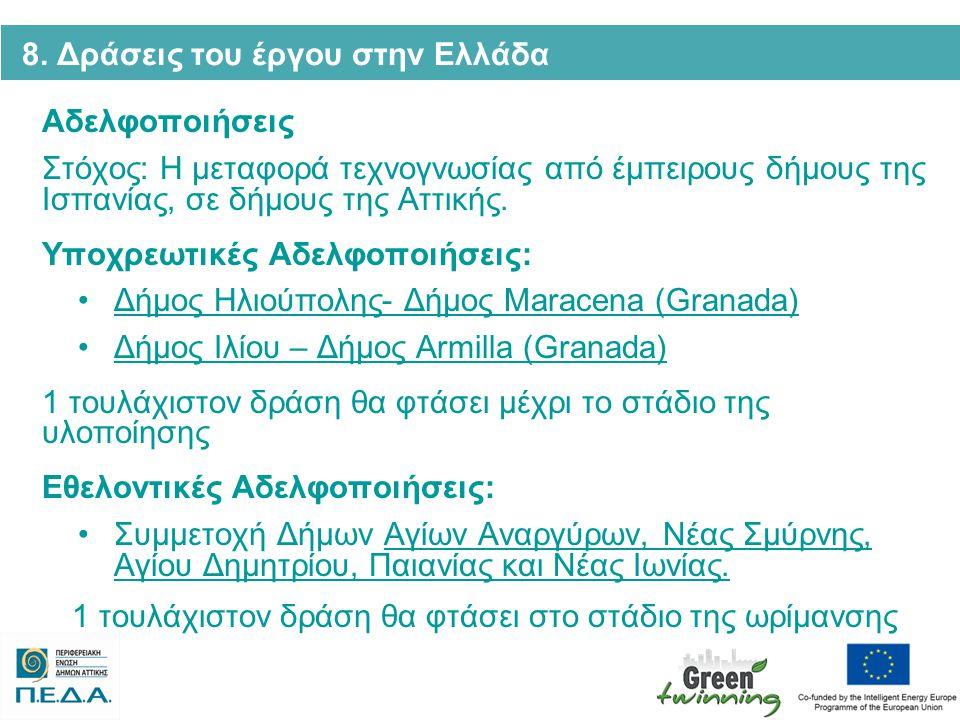 8. Δράσεις του έργου στην Ελλάδα Αδελφοποιήσεις Στόχος: Η μεταφορά τεχνογνωσίας από έμπειρους δήμους της Ισπανίας, σε δήμους της Αττικής. Υποχρεωτικές