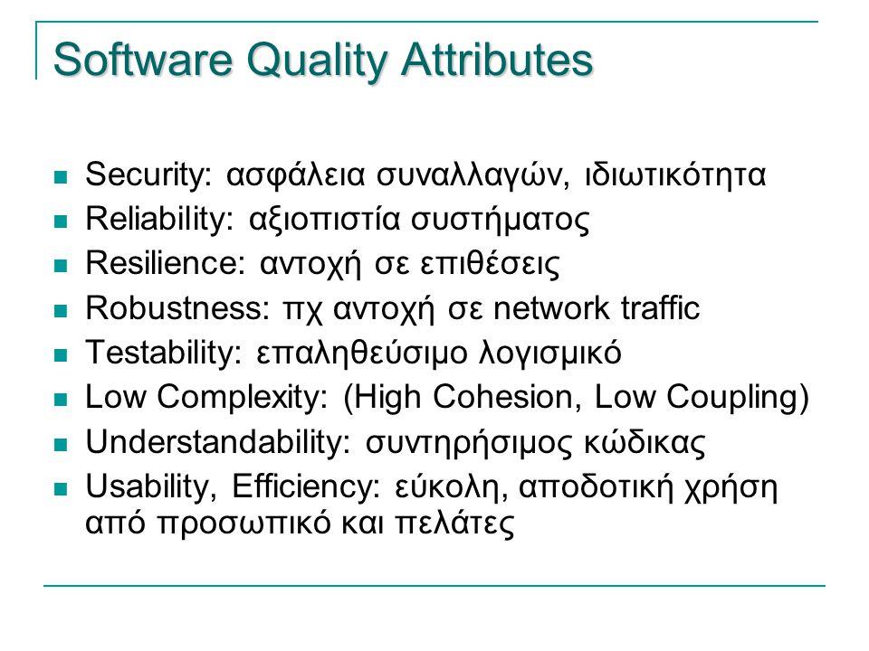 Software Quality Attributes  Security: ασφάλεια συναλλαγών, ιδιωτικότητα  Reliability: αξιοπιστία συστήματος  Resilience: αντοχή σε επιθέσεις  Rob