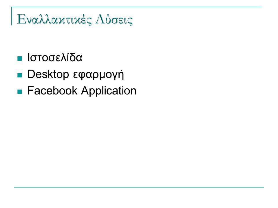 Εναλλακτικές Λύσεις  Ιστοσελίδα  Desktop εφαρμογή  Facebook Application