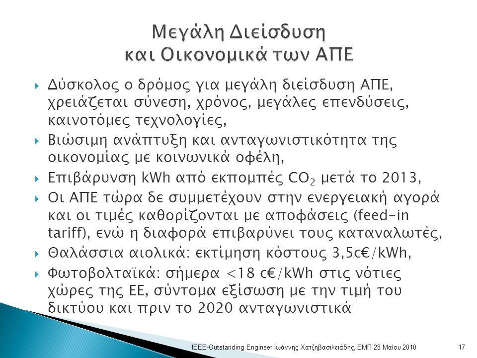 Δύσκολος ο δρόμος για μεγάλη διείσδυση ΑΠΕ, χρειάζεται σύνεση, χρόνος, μεγάλες επενδύσεις, καινοτόμες τεχνολογίες,  Βιώσιμη ανάπτυξη και ανταγωνιστικότητα της οικονομίας με κοινωνικά οφέλη,  Επιβάρυνση kWh από εκπομπές CO 2 μετά το 2013,  Οι ΑΠΕ τώρα δε συμμετέχουν στην ενεργειακή αγορά και οι τιμές καθορίζονται με αποφάσεις (feed-in tariff), ενώ η διαφορά επιβαρύνει τους καταναλωτές,  Θαλάσσια αιολικά: εκτίμηση κόστους 3,5c€/kWh,  Φωτοβολταϊκά: σήμερα <18 c€/kWh στις νότιες χώρες της ΕΕ, σύντομα εξίσωση με την τιμή του δικτύου και πριν το 2020 ανταγωνιστικά 17ΙΕΕΕ-Outstanding Engineer Ιωάννης Χατζηβασιλειάδης, ΕΜΠ 28 Μαίου 2010
