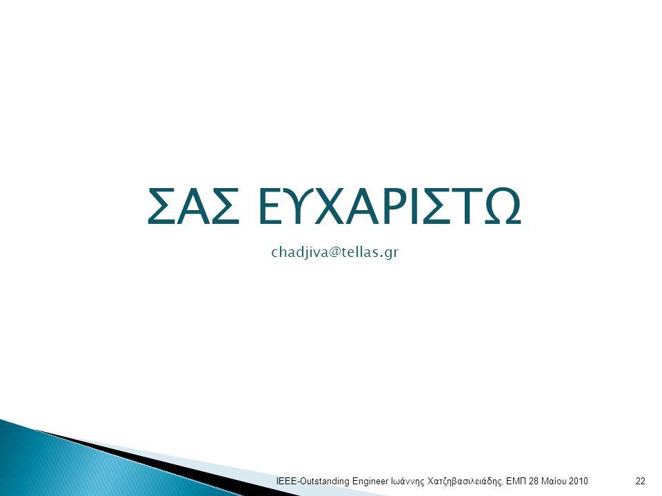 ΣΑΣ ΕΥΧΑΡΙΣΤΩ chadjiva@tellas.gr 22ΙΕΕΕ-Outstanding Engineer Ιωάννης Χατζηβασιλειάδης, ΕΜΠ 28 Μαίου 2010