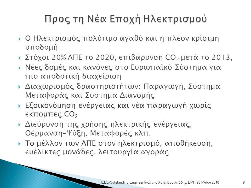  Ο Ηλεκτρισμός πολύτιμο αγαθό και η πλέον κρίσιμη υποδομή  Στόχοι 20% ΑΠΕ το 2020, επιβάρυνση CO 2 μετά το 2013,  Νέες δομές και κανόνες στο Ευρωπαϊκό Σύστημα για πιο αποδοτική διαχείριση  Διαχωρισμός δραστηριοτήτων: Παραγωγή, Σύστημα Μεταφοράς και Σύστημα Διανομής  Εξοικονόμηση ενέργειας και νέα παραγωγή χωρίς εκπομπές CO 2  Διεύρυνση της χρήσης ηλεκτρικής ενέργειας, Θέρμανση-Ψύξη, Μεταφορές κλπ.