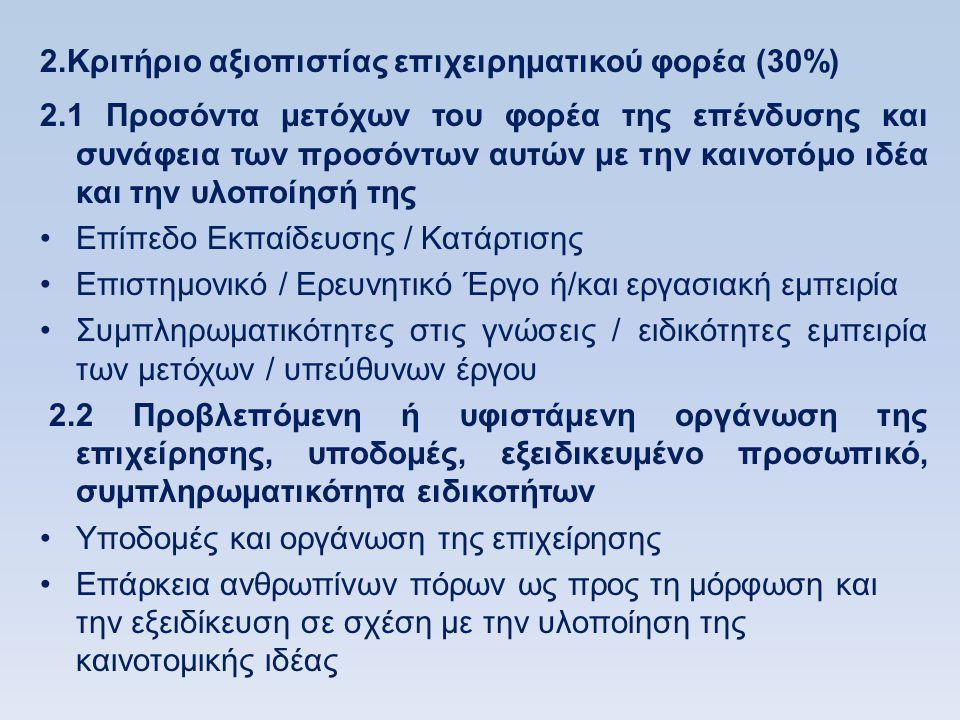 2.Κριτήριο αξιοπιστίας επιχειρηματικού φορέα (30%) 2.1 Προσόντα μετόχων του φορέα της επένδυσης και συνάφεια των προσόντων αυτών με την καινοτόμο ιδέα