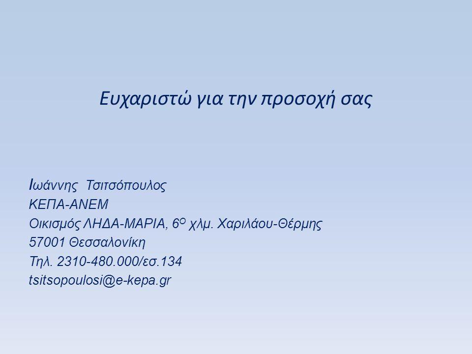 Ευχαριστώ για την προσοχή σας I ωάννης Τσιτσόπουλος ΚΕΠΑ-ΑΝΕΜ Οικισμός ΛΗΔΑ-ΜΑΡΙΑ, 6 Ο χλμ. Χαριλάου-Θέρμης 57001 Θεσσαλονίκη Τηλ. 2310-480.000/εσ.134