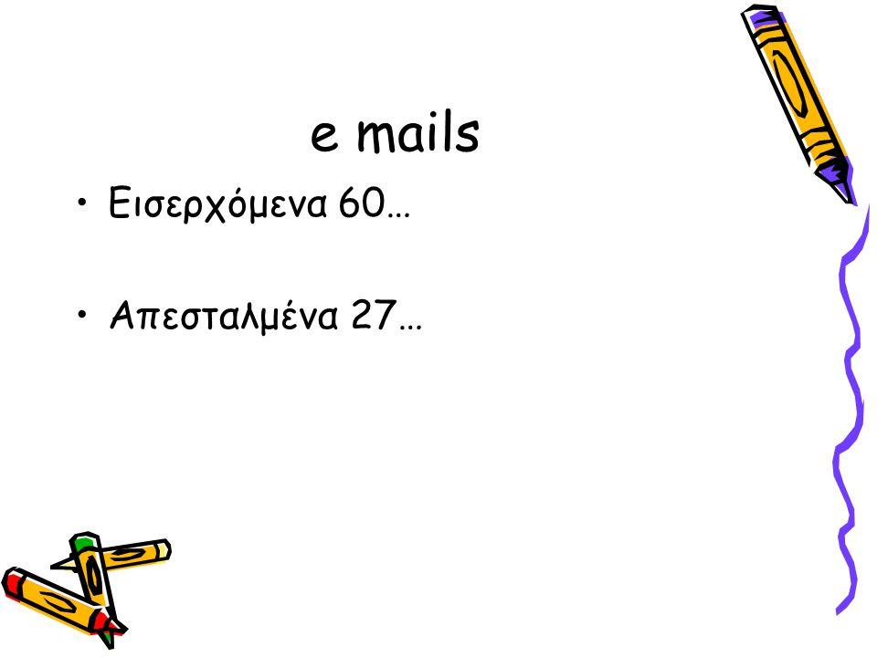 e mails •Εισερχόμενα 60… •Απεσταλμένα 27…
