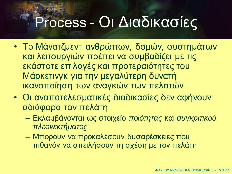 ΔΙΑ ΒΙΟΥ ΜΑΘΗΣΗ ΚΑΙ ΒΙΒΛΙΟΘΗΚΕΣ - ENTITLE Process - Οι Διαδικασίες •Το Μάνατζμεντ ανθρώπων, δομών, συστημάτων και λειτουργιών πρέπει να συμβαδίζει με τις εκάστοτε επιλογές και προτεραιότητες του Μάρκετινγκ για την μεγαλύτερη δυνατή ικανοποίηση των αναγκών των πελατών •Οι αναποτελεσματικές διαδικασίες δεν αφήνουν αδιάφορο τον πελάτη –Εκλαμβάνονται ως στοιχείο ποιότητας και συγκριτικού πλεονεκτήματος –Μπορούν να προκαλέσουν δυσαρέσκειες που πιθανόν να απειλήσουν τη σχέση με τον πελάτη