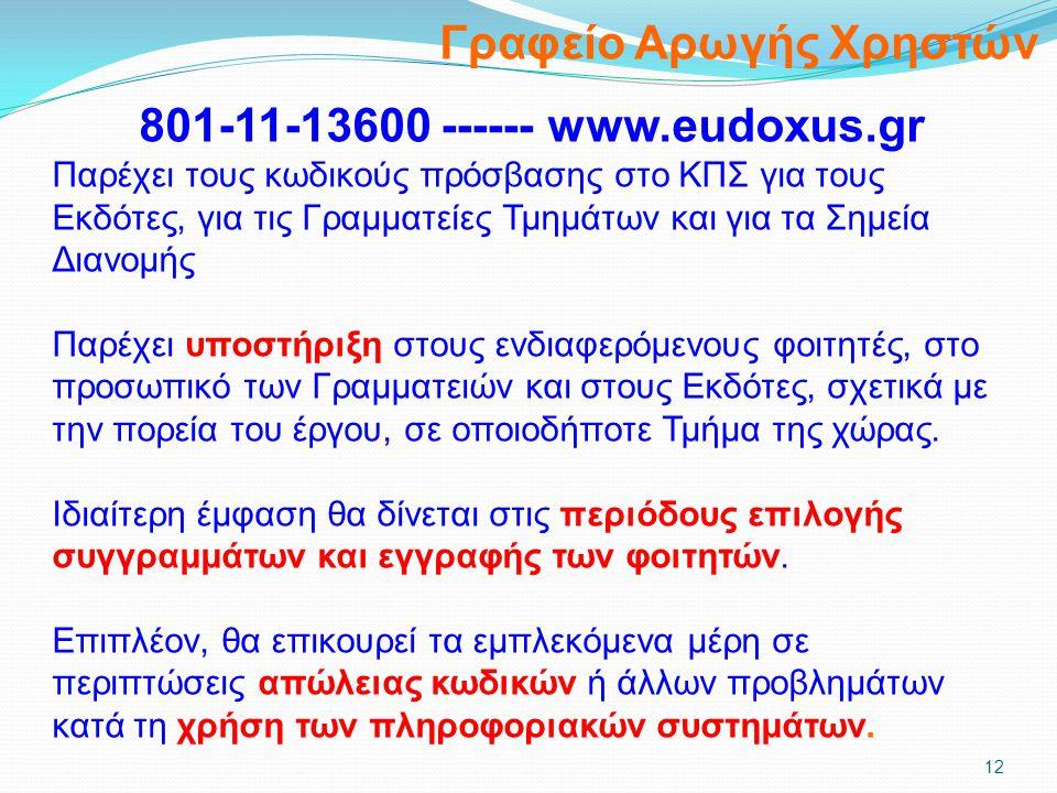 Γραφείο Αρωγής Χρηστών 801-11-13600 ------ www.eudoxus.gr Παρέχει τους κωδικούς πρόσβασης στο ΚΠΣ για τους Εκδότες, για τις Γραμματείες Τμημάτων και γ