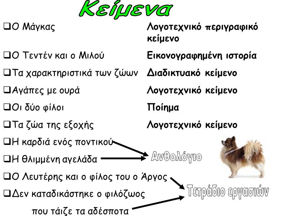  Ο Μάγκας Λογοτεχνικό περιγραφικό κείμενο  Ο Τεντέν και ο ΜιλούΕικονογραφημένη ιστορία  Τα χαρακτηριστικά των ζώωνΔιαδικτυακό κείμενο  Αγάπες με ο
