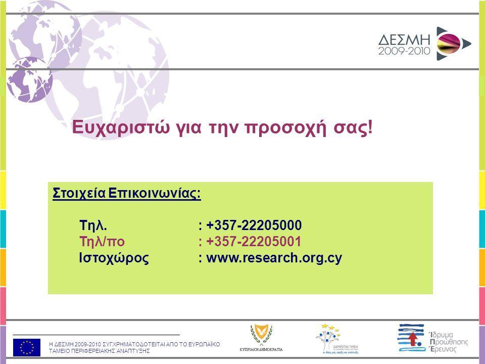 Η ΔΕΣΜΗ 2009-2010 ΣΥΓΧΡΗΜΑΤΟΔΟΤΕΙΤΑΙ ΑΠΟ ΤΟ ΕΥΡΩΠΑΪΚΟ ΤΑΜΕΙΟ ΠΕΡΙΦΕΡΕΙΑΚΗΣ ΑΝΑΠΤΥΞΗΣ Στοιχεία Επικοινωνίας: Tηλ.: +357-22205000 Τηλ/πο: +357-22205001 Ιστοχώρος: www.research.org.cy Ευχαριστώ για την προσοχή σας!