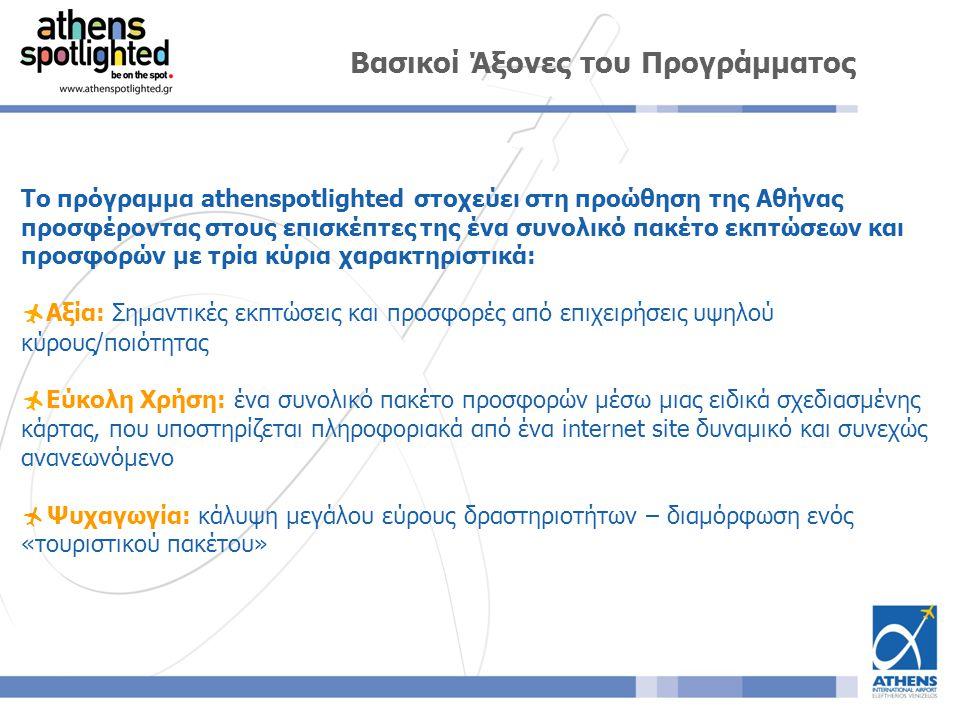 Το πρόγραμμα athenspotlighted στοχεύει στη προώθηση της Αθήνας προσφέροντας στους επισκέπτες της ένα συνολικό πακέτο εκπτώσεων και προσφορών με τρία κύρια χαρακτηριστικά:  Αξία: Σημαντικές εκπτώσεις και προσφορές από επιχειρήσεις υψηλού κύρους/ποιότητας  Εύκολη Χρήση: ένα συνολικό πακέτο προσφορών μέσω μιας ειδικά σχεδιασμένης κάρτας, που υποστηρίζεται πληροφοριακά από ένα internet site δυναμικό και συνεχώς ανανεωνόμενο  Ψυχαγωγία: κάλυψη μεγάλου εύρους δραστηριοτήτων – διαμόρφωση ενός «τουριστικού πακέτου» Βασικοί Άξονες του Προγράμματος