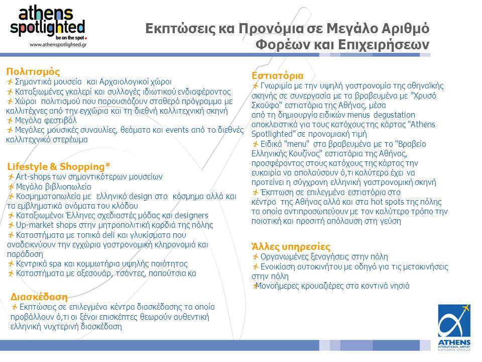 Εστιατόρια  Γνωριμία με την υψηλή γαστρονομία της αθηναϊκής σκηνής σε συνεργασία με τα βραβευμένα με Χρυσό Σκούφο εστιατόρια της Αθήνας, μέσα από τη δημιουργία ειδικών menus degustation αποκλειστικά για τους κατόχους της κάρτας Athens Spotlighted σε προνομιακή τιμή  Ειδικά menu στα βραβευμένα με το Βραβείο Ελληνικής Κουζίνας εστιατόρια της Αθήνας, προσφέροντας στους κατόχους της κάρτας την ευκαιρία να απολαύσουν ό,τι καλύτερο έχει να προτείνει η σύγχρονη ελληνική γαστρονομική σκηνή  Έκπτωση σε επιλεγμένα εστιατόρια στο κέντρο της Αθήνας αλλά και στα hot spots της πόλης τα οποία αντιπροσωπεύουν με τον καλύτερο τρόπο την ποιοτική και προσιτή απόλαυση στη γεύση Εκπτώσεις κα Προνόμια σε Μεγάλο Αριθμό Φορέων και Επιχειρήσεων Πολιτισμός  Σημαντικά μουσεία και Αρχαιολογικοί χώροι  Καταξιωμένες γκαλερί και συλλογές ιδιωτικού ενδιαφέροντος  Χώροι πολιτισμού που παρουσιάζουν σταθερό πρόγραμμα με καλλιτέχνες από την εγχώρια και τη διεθνή καλλιτεχνική σκηνή  Μεγάλα φεστιβάλ  Μεγάλες μουσικές συναυλίες, θεάματα και events από το διεθνές καλλιτεχνικό στερέωμα Διασκέδαση  Εκπτώσεις σε επιλεγμένα κέντρα διασκέδασης τα οποία προβάλλουν ό,τι οι ξένοι επισκέπτες θεωρούν αυθεντική ελληνική νυχτερινή διασκέδαση Lifestyle & Shopping*  Art-shops των σημαντικότερων μουσείων  Μεγάλα βιβλιοπωλεία  Κοσμηματοπωλεία με ελληνικό design στο κόσμημα αλλά και τα εμβληματικά ονόματα του κλάδου  Καταξιωμένοι Έλληνες σχεδιαστές μόδας και designers  Up-market shops στην μητροπολιτική καρδιά της πόλης  Καταστήματα με τοπικά deli και γλυκίσματα που αναδεικνύουν την εγχώρια γαστρονομική κληρονομιά και παράδοση  Κεντρικά spa και κομμωτήρια υψηλής ποιότητας  Καταστήματα με αξεσουάρ, τσάντες, παπούτσια κα Άλλες υπηρεσίες  Οργανωμένες ξεναγήσεις στην πόλη  Ενοικίαση αυτοκινήτου με οδηγό για τις μετακινήσεις στην πόλη  Μονοήμερες κρουαζιέρες στα κοντινά νησιά