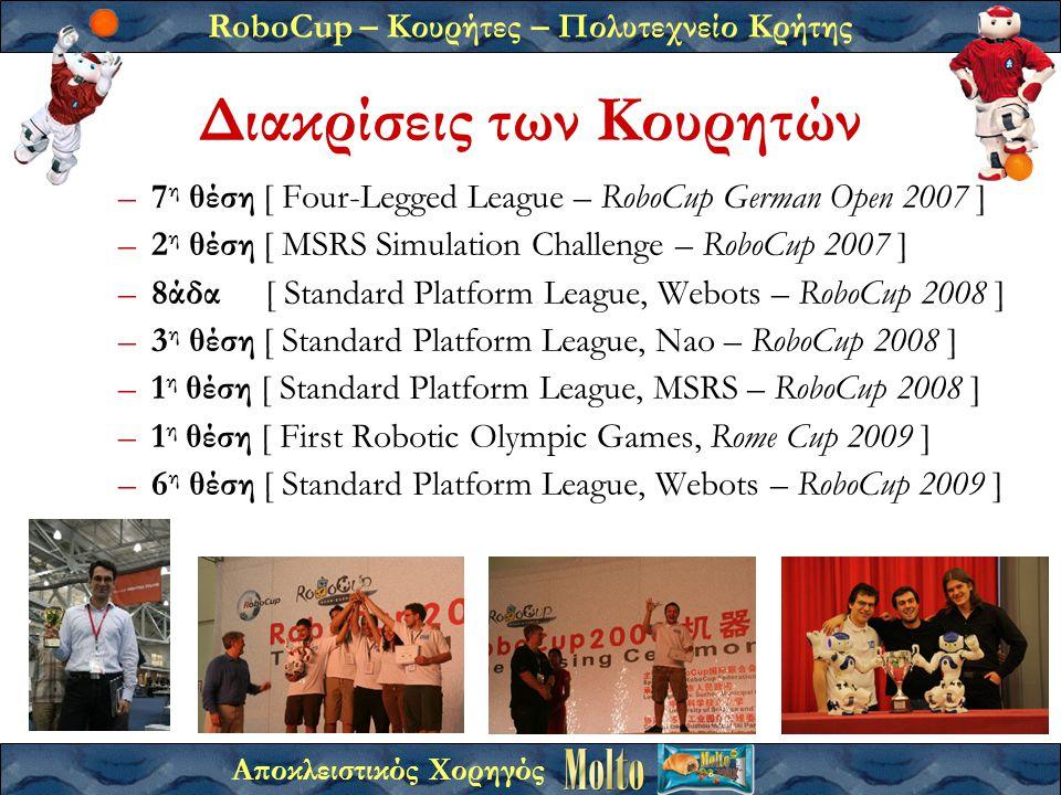 RoboCup – Κουρήτες – Πολυτεχνείο Κρήτης Αποκλειστικός Χορηγός Διακρίσεις των Κουρητών –7 η θέση [ Four-Legged League – RoboCup German Open 2007 ] –2 η θέση [ MSRS Simulation Challenge – RoboCup 2007 ] –8άδα [ Standard Platform League, Webots – RoboCup 2008 ] –3 η θέση [ Standard Platform League, Nao – RoboCup 2008 ] –1 η θέση [ Standard Platform League, MSRS – RoboCup 2008 ] –1 η θέση [ First Robotic Olympic Games, Rome Cup 2009 ] –6 η θέση [ Standard Platform League, Webots – RoboCup 2009 ]
