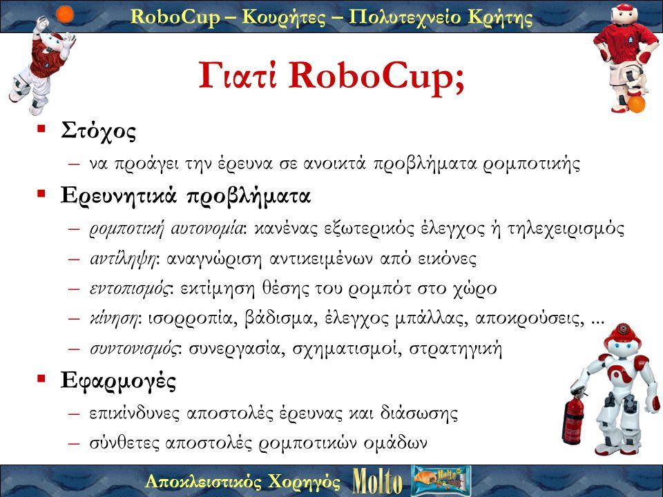 RoboCup – Κουρήτες – Πολυτεχνείο Κρήτης Αποκλειστικός Χορηγός Γιατί RoboCup;  Στόχος –να προάγει την έρευνα σε ανοικτά προβλήματα ρομποτικής  Ερευνητικά προβλήματα –ρομποτική αυτονομία: κανένας εξωτερικός έλεγχος ή τηλεχειρισμός –αντίληψη: αναγνώριση αντικειμένων από εικόνες –εντοπισμός: εκτίμηση θέσης του ρομπότ στο χώρο –κίνηση: ισορροπία, βάδισμα, έλεγχος μπάλλας, αποκρούσεις,...