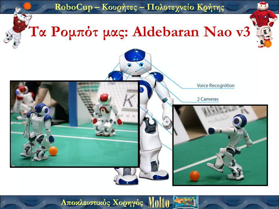 RoboCup – Κουρήτες – Πολυτεχνείο Κρήτης Αποκλειστικός Χορηγός Τα Ρομπότ μας: Aldebaran Nao v3