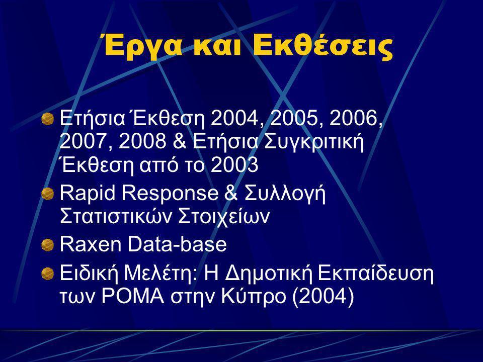 Έργα και Εκθέσεις Ετήσια Έκθεση 2004, 2005, 2006, 2007, 2008 & Ετήσια Συγκριτική Έκθεση από το 2003 Rapid Response & Συλλογή Στατιστικών Στοιχείων Rax