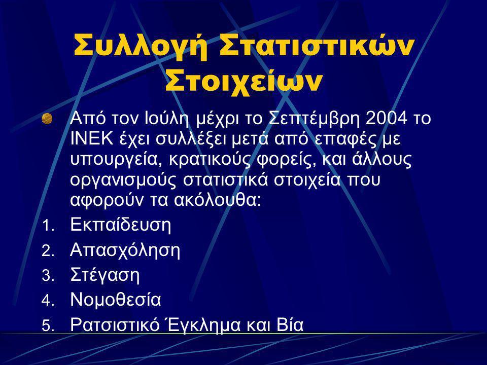 Συλλογή Στατιστικών Στοιχείων Από τον Ιούλη μέχρι το Σεπτέμβρη 2004 το ΙΝΕΚ έχει συλλέξει μετά από επαφές με υπουργεία, κρατικούς φορείς, και άλλους ο