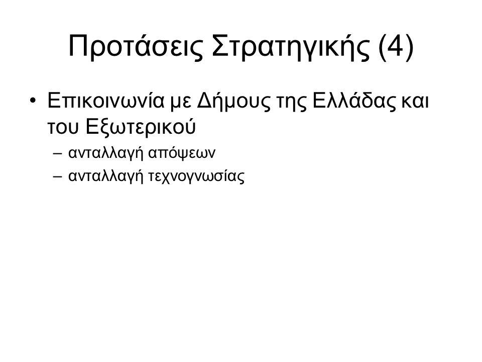 Προτάσεις Στρατηγικής (4) •Επικοινωνία με Δήμους της Ελλάδας και του Εξωτερικού –ανταλλαγή απόψεων –ανταλλαγή τεχνογνωσίας