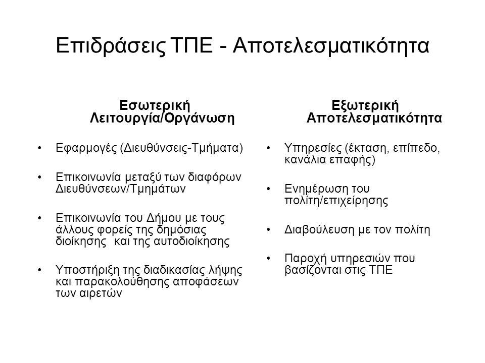 Επιδράσεις ΤΠΕ - Αποτελεσματικότητα Εσωτερική Λειτουργία/Οργάνωση •Εφαρμογές (Διευθύνσεις-Τμήματα) •Επικοινωνία μεταξύ των διαφόρων Διευθύνσεων/Τμημάτ