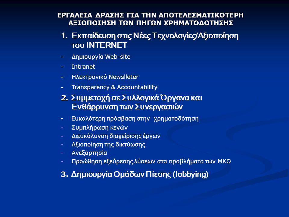 ΕΡΓΑΛΕΙΑ ΔΡΑΣΗΣ ΓΙΑ ΤΗΝ ΑΠΟΤΕΛΕΣΜΑΤΙΚΟΤΕΡΗ ΑΞΙΟΠΟΙΗΣΗ ΤΩΝ ΠΗΓΩΝ ΧΡΗΜΑΤΟΔΟΤΗΣΗΣ 1.Εκπαίδευση στις Νέες Τεχνολογίες/Αξιοποίηση του ΙNTERNET -Δημιουργία Web-site -Intranet -Ηλεκτρονικό Newslleter -Transparency & Accountability 2.