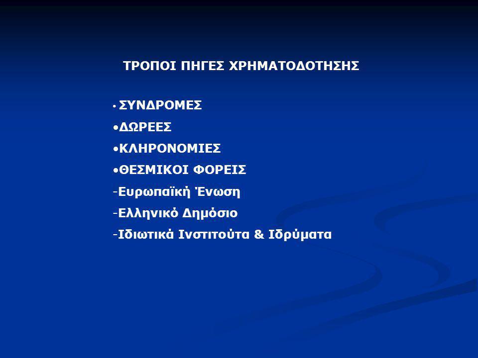 ΤΡΟΠΟΙ ΠΗΓΕΣ ΧΡΗΜΑΤΟΔΟΤΗΣΗΣ • ΣΥΝΔΡΟΜΕΣ •ΔΩΡΕΕΣ •ΚΛΗΡΟΝΟΜΙΕΣ •ΘΕΣΜΙΚΟΙ ΦΟΡΕΙΣ -Ευρωπαϊκή Ένωση -Ελληνικό Δημόσιο -Ιδιωτικά Ινστιτούτα & Ιδρύματα