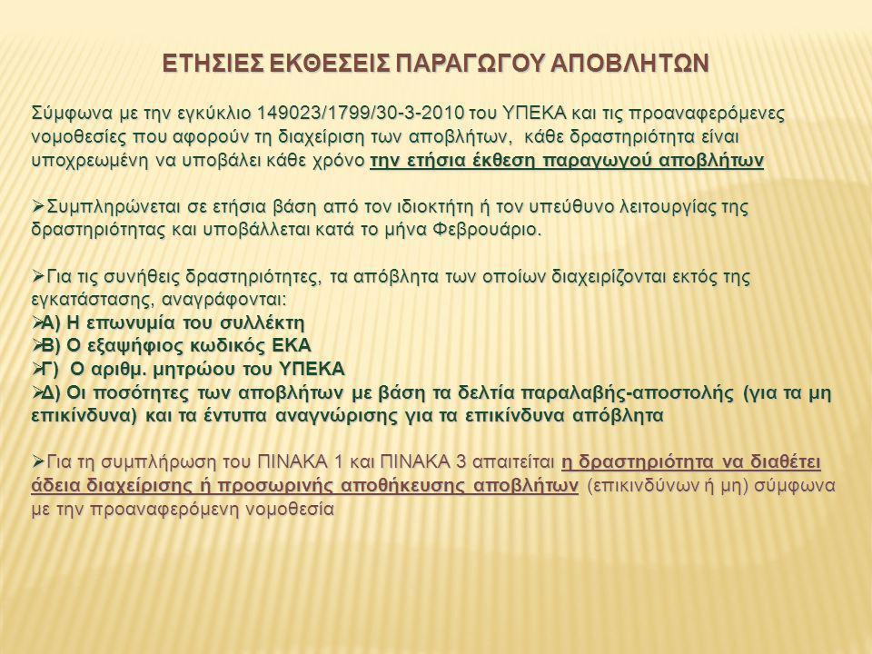 ΕΤΗΣΙΕΣ ΕΚΘΕΣΕΙΣ ΠΑΡΑΓΩΓΟΥ ΑΠΟΒΛΗΤΩΝ Σύμφωνα με την εγκύκλιο 149023/1799/30-3-2010 του ΥΠΕΚΑ και τις προαναφερόμενες νομοθεσίες που αφορούν τη διαχείρ