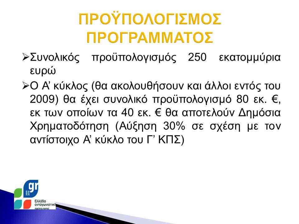  Συνολικός προϋπολογισμός 250 εκατομμύρια ευρώ  Ο Α' κύκλος (θα ακολουθήσουν και άλλοι εντός του 2009) θα έχει συνολικό προϋπολογισμό 80 εκ.