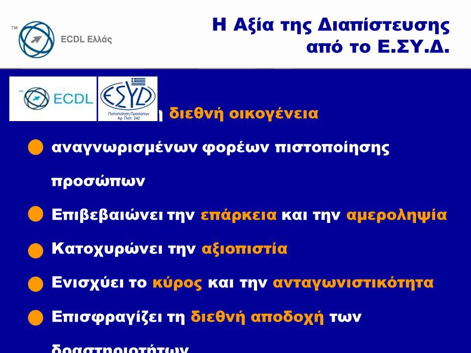 www.ecdl.gr Η Αξία της Διαπίστευσης από το Ε.ΣΥ.Δ. Εντάσσει στη διεθνή οικογένεια αναγνωρισμένων φορέων πιστοποίησης προσώπων Επιβεβαιώνει την επάρκει