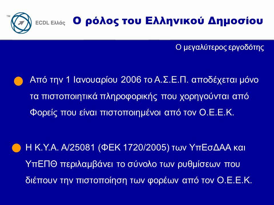www.ecdl.gr Ο ρόλος του Ελληνικού Δημοσίου Ο μεγαλύτερος εργοδότης Από την 1 Ιανουαρίου 2006 το Α.Σ.Ε.Π. αποδέχεται μόνο τα πιστοποιητικά πληροφορικής