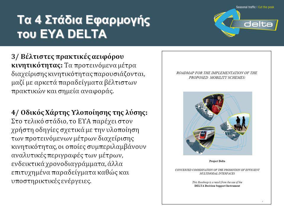 Τα 4 Στάδια Εφαρμογής του ΕΥΑ DELTA 3/ Βέλτιστες πρακτικές αειφόρου κινητικότητας: Τα προτεινόμενα μέτρα διαχείρισης κινητικότητας παρουσιάζονται, μαζί με αρκετά παραδείγματα βέλτιστων πρακτικών και σημεία αναφοράς.