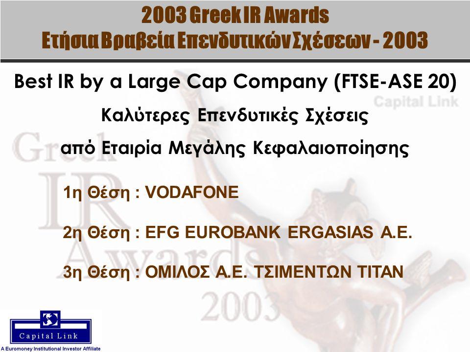 2003 Greek IR Awards Ετήσια Βραβεία Επενδυτικών Σχέσεων - 2003 Best IR by a Large Cap Company (FTSE-ASE 20) Καλύτερες Επενδυτικές Σχέσεις από Εταιρία Μεγάλης Κεφαλαιοποίησης 1η Θέση : VODAFONE 2η Θέση : EFG EUROBANK ERGASIAS A.E.