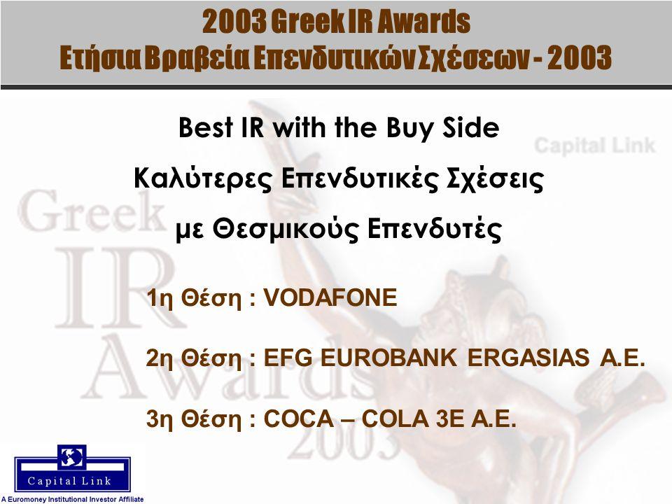 2003 Greek IR Awards Ετήσια Βραβεία Επενδυτικών Σχέσεων - 2003 Best IR with the Buy Side Καλύτερες Επενδυτικές Σχέσεις με Θεσμικούς Επενδυτές 1η Θέση : VODAFONE 2η Θέση : EFG EUROBANK ERGASIAS A.E.