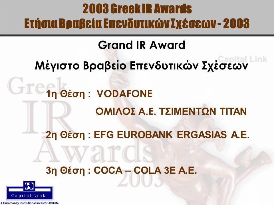 2003 Greek IR Awards Ετήσια Βραβεία Επενδυτικών Σχέσεων - 2003 Grand IR Award Μέγιστο Βραβείο Επενδυτικών Σχέσεων 1η Θέση : VODAFONE ΟΜΙΛΟΣ Α.Ε.