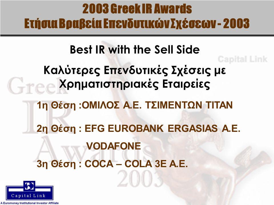 2003 Greek IR Awards Ετήσια Βραβεία Επενδυτικών Σχέσεων - 2003 Best IR with the Sell Side Καλύτερες Επενδυτικές Σχέσεις με Χρηματιστηριακές Εταιρείες 1η Θέση :ΟΜΙΛΟΣ Α.Ε.