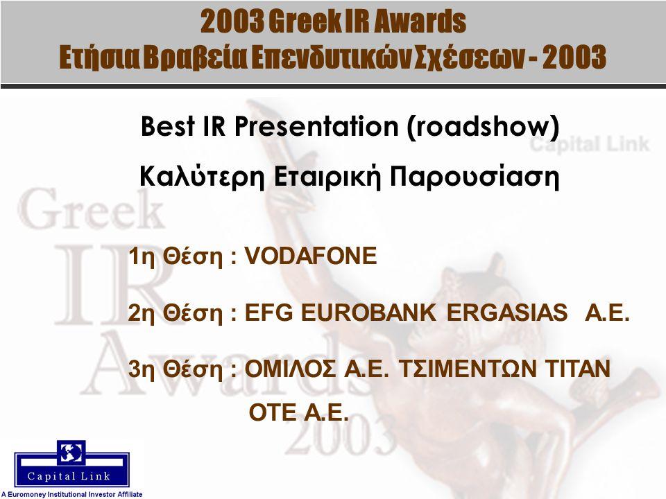 2003 Greek IR Awards Ετήσια Βραβεία Επενδυτικών Σχέσεων - 2003 Best IR Presentation (roadshow) Καλύτερη Εταιρική Παρουσίαση 1η Θέση : VODAFONE 2η Θέση : EFG EUROBANK ERGASIAS A.E.