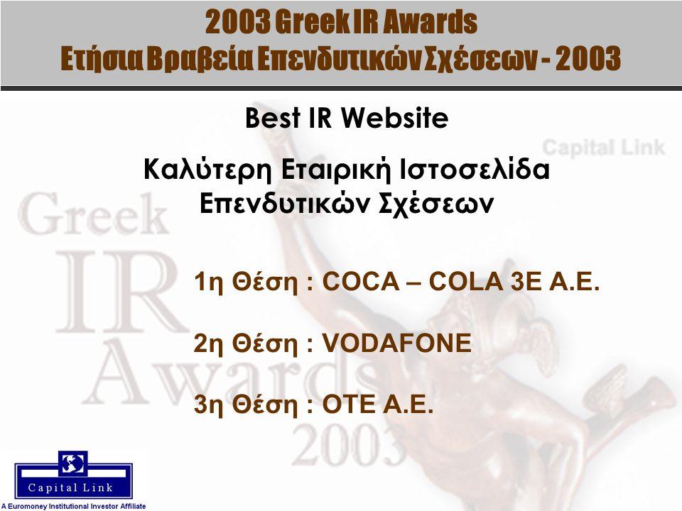 2003 Greek IR Awards Ετήσια Βραβεία Επενδυτικών Σχέσεων - 2003 Best IR Website Καλύτερη Εταιρική Ιστοσελίδα Επενδυτικών Σχέσεων 1η Θέση : COCA – COLA 3E A.E.