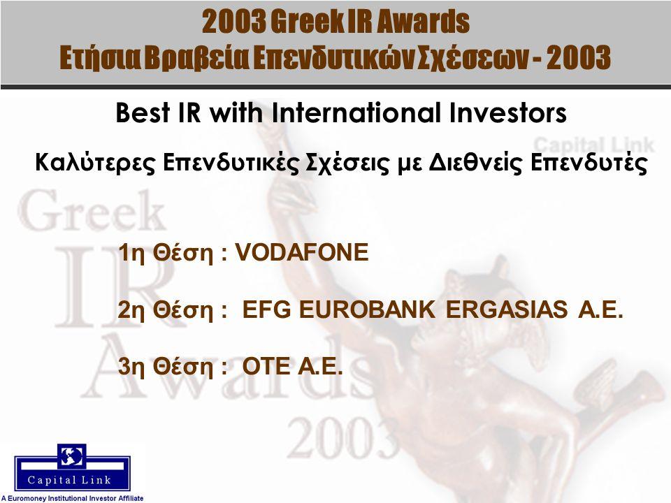 2003 Greek IR Awards Ετήσια Βραβεία Επενδυτικών Σχέσεων - 2003 Best IR with International Investors Καλύτερες Επενδυτικές Σχέσεις με Διεθνείς Επενδυτές 1η Θέση : VODAFONE 2η Θέση : EFG EUROBANK ERGASIAS A.E.