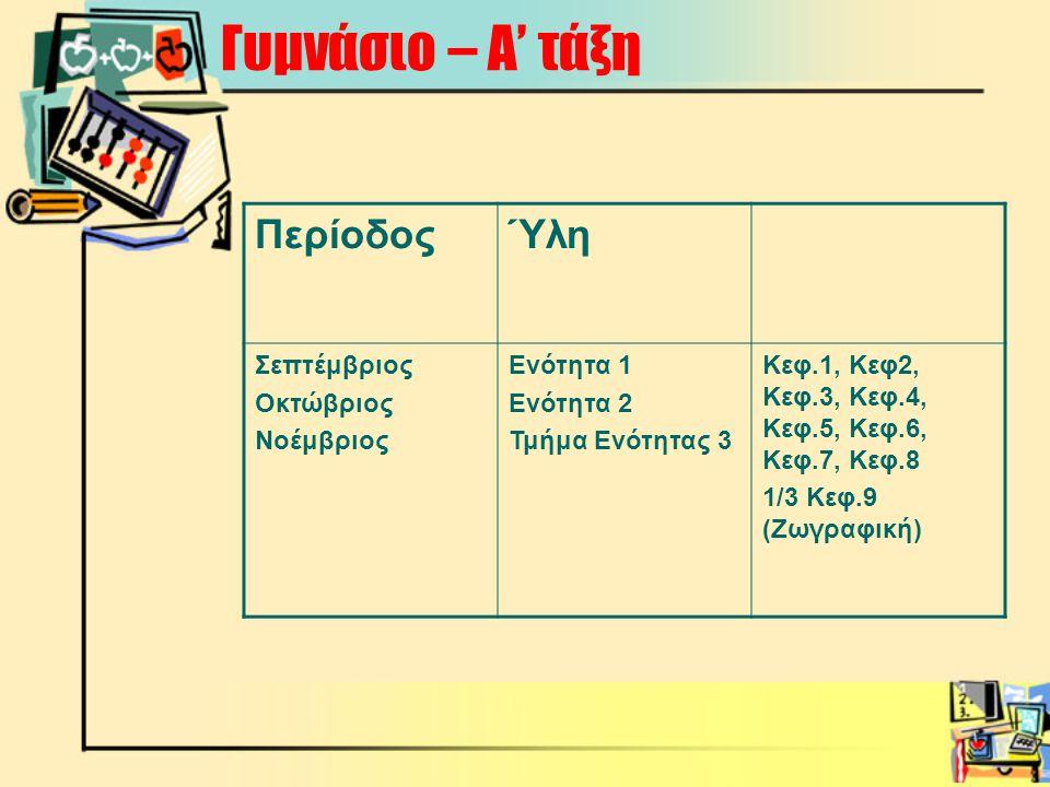 Γυμνάσιο – Α' τάξη ΠερίοδοςΎλη Σεπτέμβριος Οκτώβριος Νοέμβριος Ενότητα 1 Ενότητα 2 Τμήμα Ενότητας 3 Κεφ.1, Κεφ2, Κεφ.3, Κεφ.4, Κεφ.5, Κεφ.6, Κεφ.7, Κεφ.8 1/3 Κεφ.9 (Ζωγραφική)