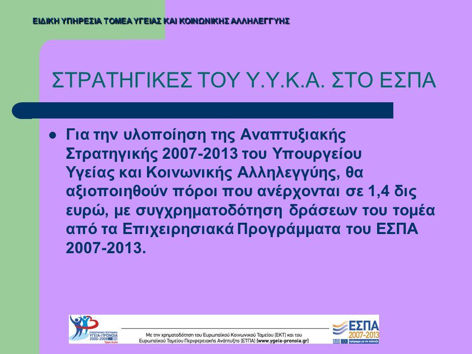 ΣΤΡΑΤΗΓΙΚΕΣ ΤΟΥ Υ.Υ.Κ.Α. ΣΤΟ ΕΣΠΑ  Για την υλοποίηση της Αναπτυξιακής Στρατηγικής 2007-2013 του Υπουργείου Υγείας και Κοινωνικής Αλληλεγγύης, θα αξιο