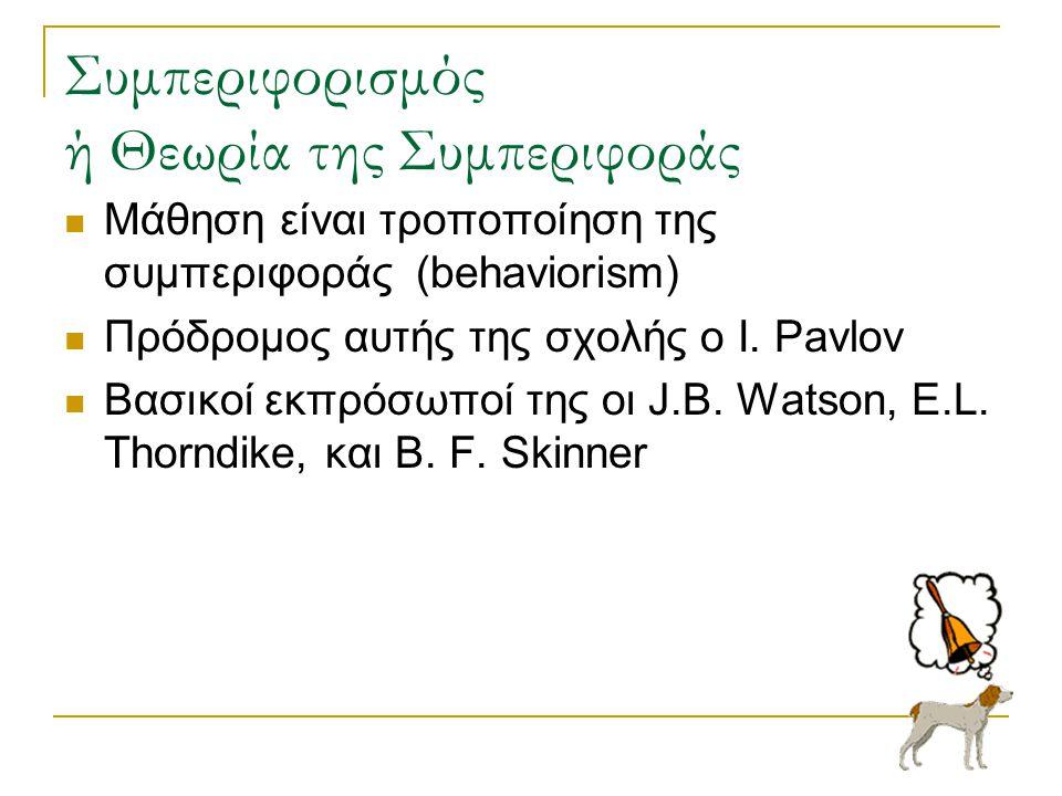 Συμπεριφορισμός ή Θεωρία της Συμπεριφοράς  Μάθηση είναι τροποποίηση της συμπεριφοράς (behaviorism)  Πρόδρομος αυτής της σχολής ο I. Pavlov  Βασικοί