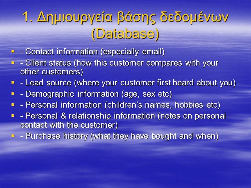 Μέθοδοι δημιουργίας της Βάσης Δεδομένων  Από την ιστοσελίδα σας (νέοι πελάτες)  Από υφιστάμενους πελάτες  Από πιθανούς νέους πελάτες  Απευθείας