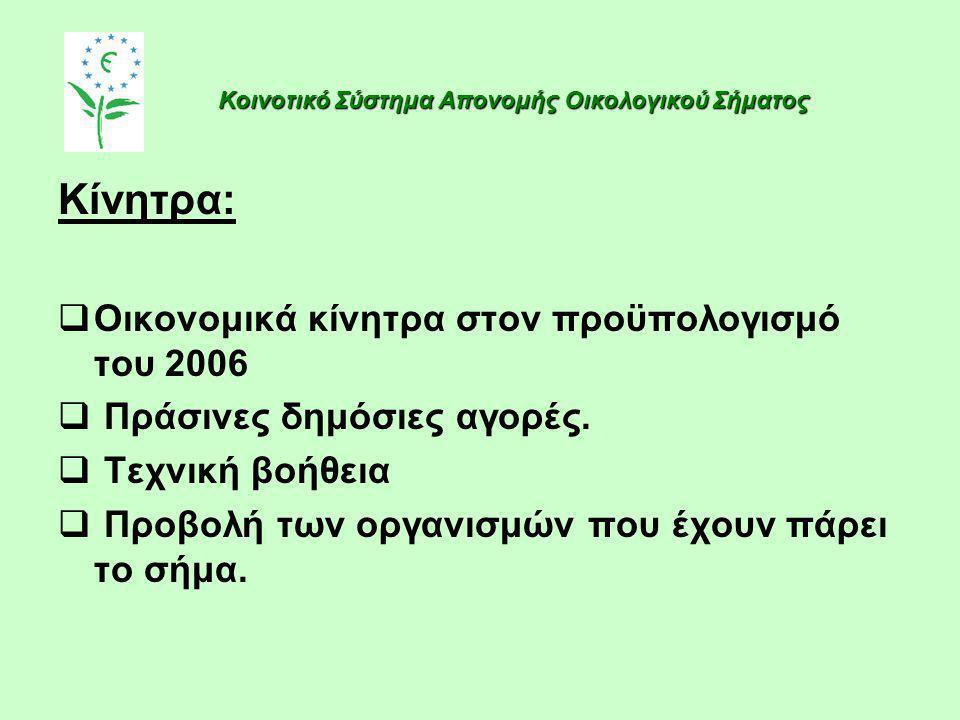 Κίνητρα:  Οικονομικά κίνητρα στον προϋπολογισμό του 2006  Πράσινες δημόσιες αγορές.  Τεχνική βοήθεια  Προβολή των οργανισμών που έχουν πάρει το σή