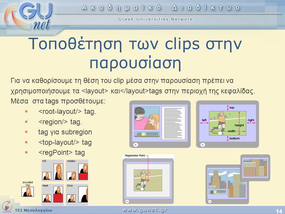 ΤΕΙ Μεσολογγίου 14 Τοποθέτηση των clips στην παρουσίαση Για να καθορίσουμε τη θέση του clip μέσα στην παρουσίαση πρέπει να χρησιμοποιήσουμε τα και tag
