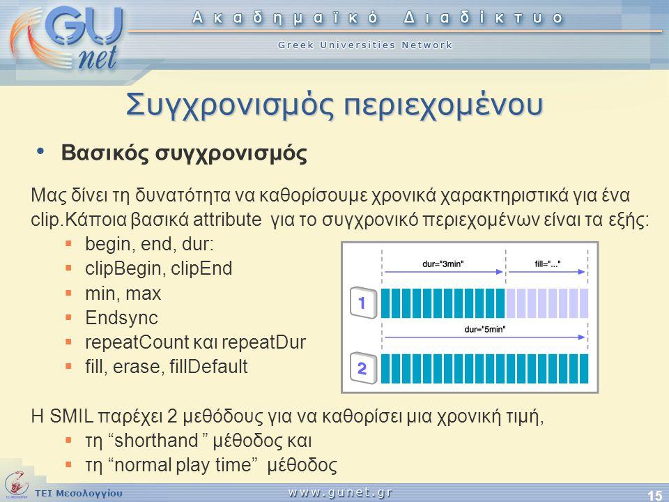 ΤΕΙ Μεσολογγίου 15 Συγχρονισμός περιεχομένου Μας δίνει τη δυνατότητα να καθορίσουμε χρονικά χαρακτηριστικά για ένα clip.Κάποια βασικά attribute για το