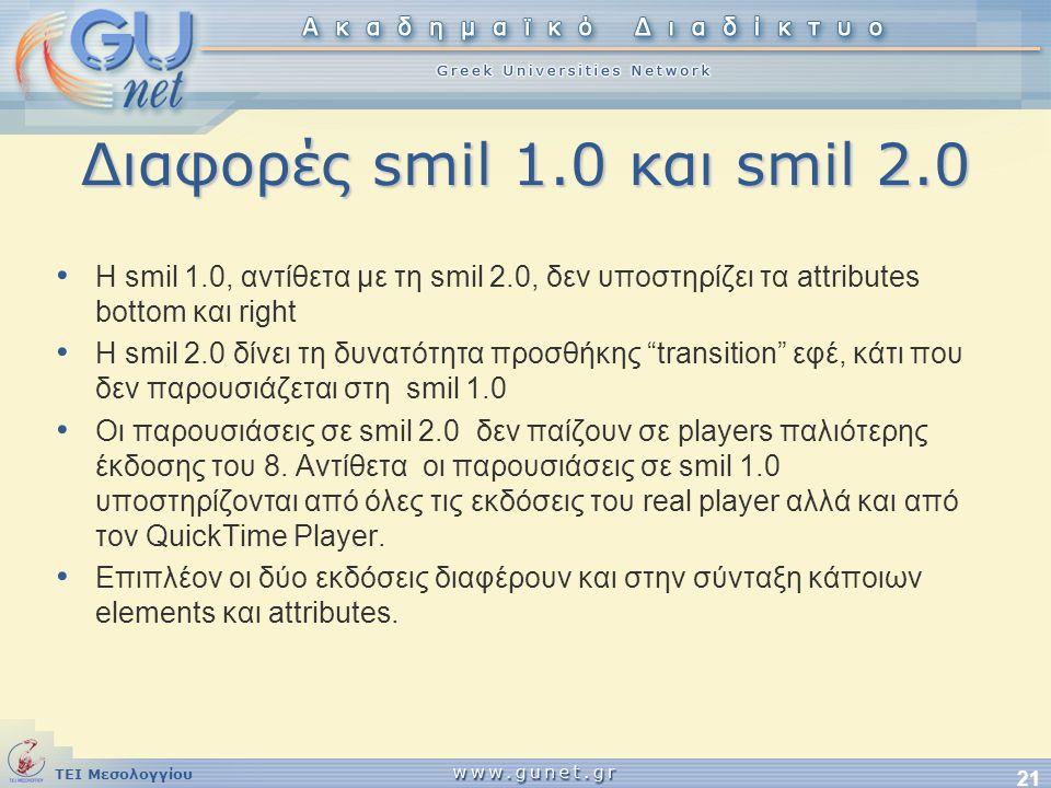 ΤΕΙ Μεσολογγίου 21 Διαφορές smil 1.0 και smil 2.0 • Η smil 1.0, αντίθετα με τη smil 2.0, δεν υποστηρίζει τα attributes bottom και right • Η smil 2.0 δ
