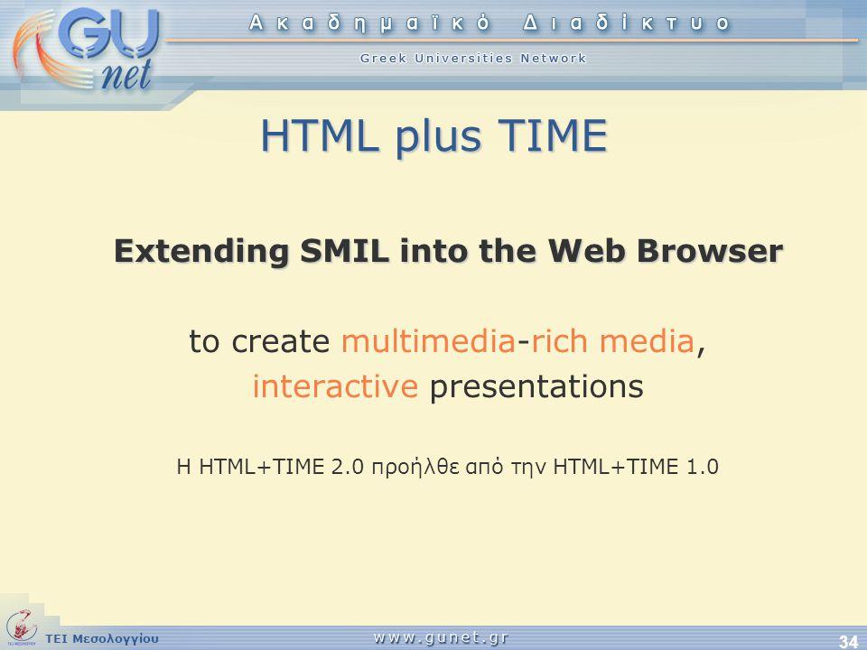 ΤΕΙ Μεσολογγίου 34 HTML plus TIME Extending SMIL into the Web Browser to create multimedia-rich media, interactive presentations H HTML+TIME 2.0 προήλ