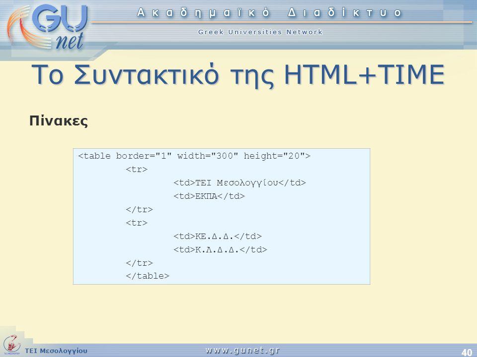 ΤΕΙ Μεσολογγίου 40 Το Συντακτικό της HTML+TIME Πίνακες TEI Μεσολογγίου ΕΚΠΑ ΚΕ.Δ.Δ. Κ.Λ.Δ.Δ.