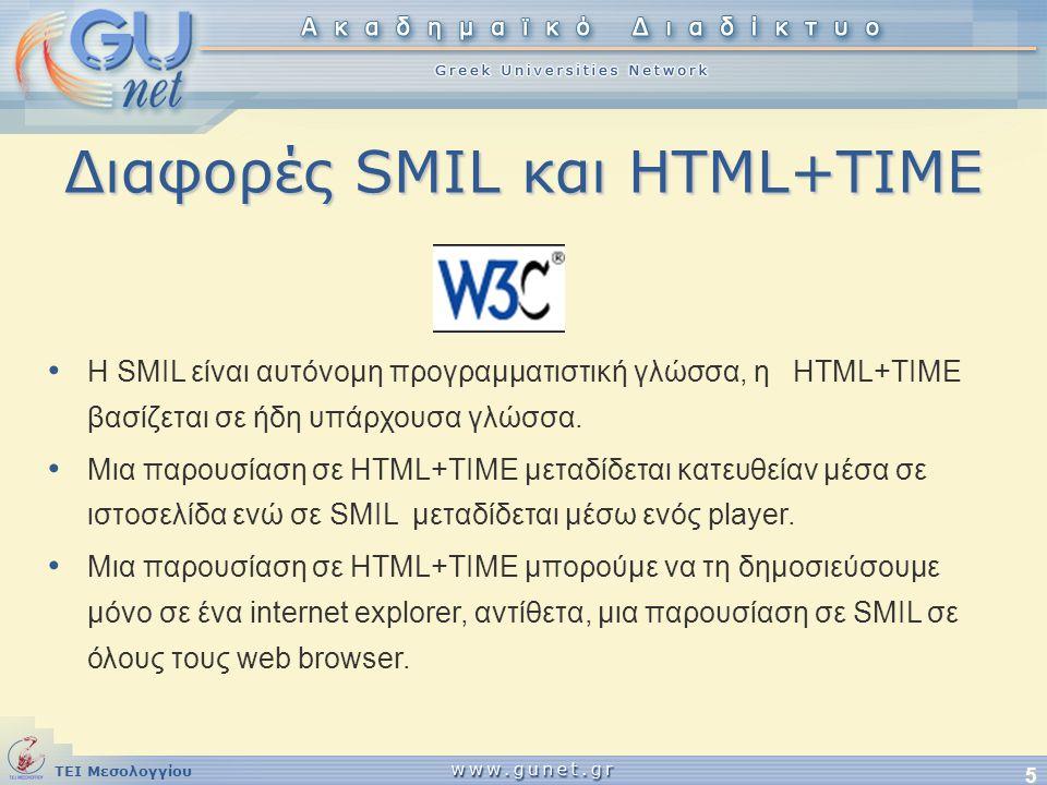 ΤΕΙ Μεσολογγίου 5 Διαφορές SMIL και HTML+TIME • Η SMIL είναι αυτόνομη προγραμματιστική γλώσσα, η HTML+TIME βασίζεται σε ήδη υπάρχουσα γλώσσα. • Μια πα
