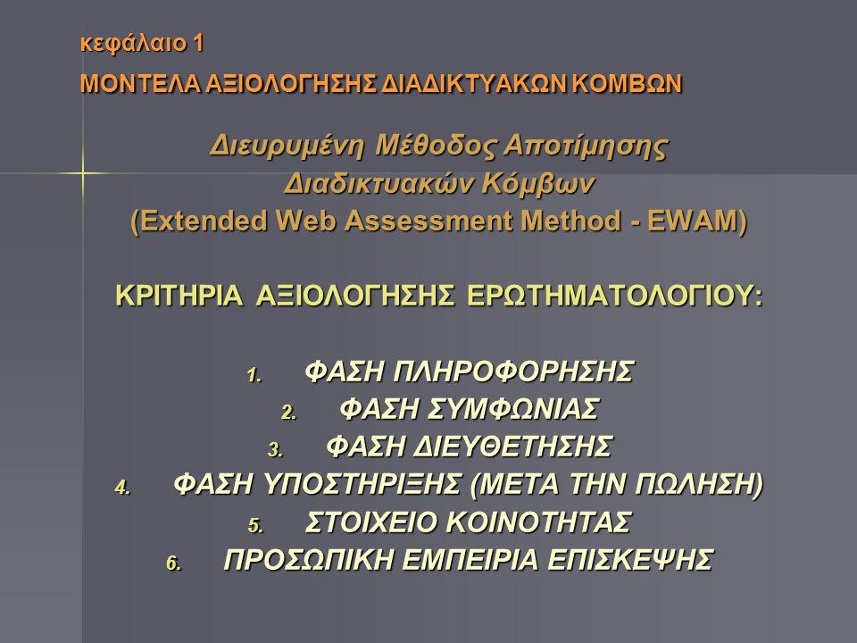 κεφάλαιο 1 ΜΟΝΤΕΛΑ ΑΞΙΟΛΟΓΗΣΗΣ ΔΙΑΔΙΚΤΥΑΚΩΝ ΚΟΜΒΩΝ Διευρυμένη Μέθοδος Αποτίμησης Διαδικτυακών Κόμβων (Extended Web Assessment Method - ΕWAM) ΚΡΙΤΗΡΙΑ