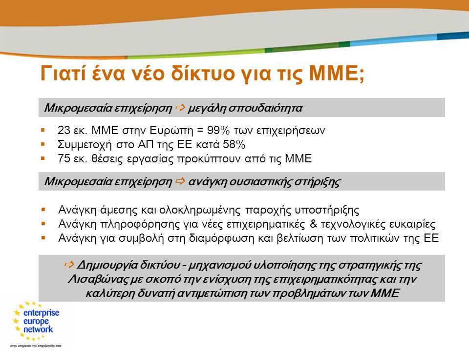 Enterprise Europe Network : Η δέσμευση της Ευρώπης απέναντι στις ΜΜΕ  550 τοπικά σημεία επαφής - 44 χώρες (κράτη μέλη της ΕΕ, υποψήφιες προς ένταξη χώρες, χώρες ΕΟΧ, λοιπές τρίτες χώρες), 3.000 εξειδικευμένα στελέχη  18 ομάδες εμπειρογνωμόνων σε διάφορους βιομηχανικούς τομείς  Διάρκεια : 1/1/2008 -31/12/2013  320 εκ.