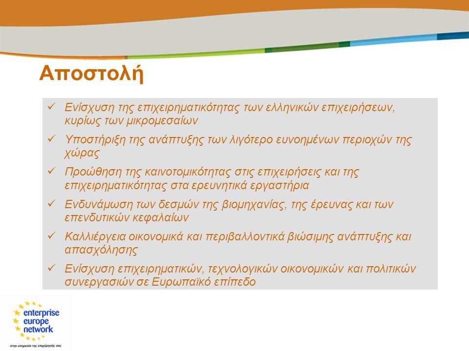 Αποστολή  Ενίσχυση της επιχειρηματικότητας των ελληνικών επιχειρήσεων, κυρίως των μικρομεσαίων  Υποστήριξη της ανάπτυξης των λιγότερο ευνοημένων περ